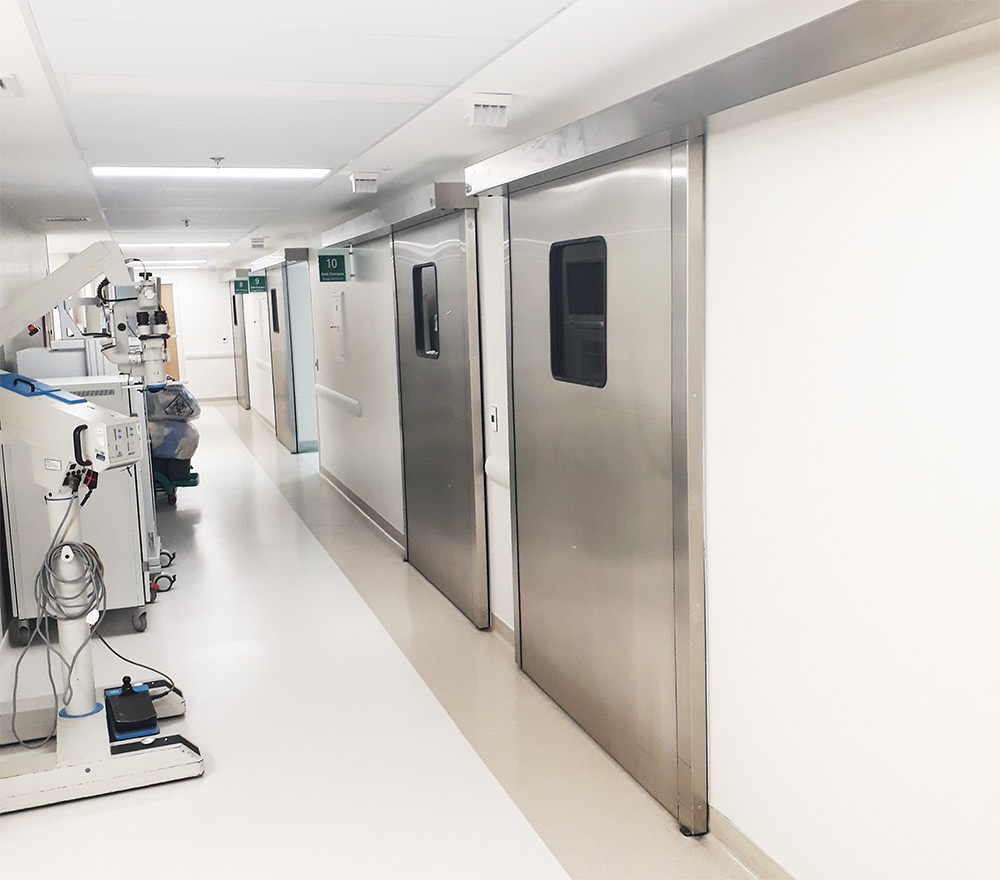 Portas automáticas em aço inox escovado para Hospitais